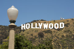 Hollywood sign. Famous Hollywood Sign with a light post in the foreground Stock Image