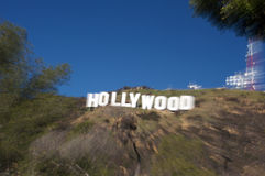 Hollywood Sign. Image of the Hollywood sign with a movement effect created directly at the time of taking the photo Stock Images