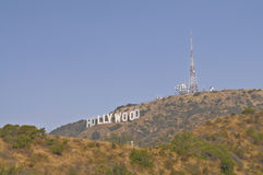 The Hollywood Sign. Is a famous landmark in the Hollywood Hills area of Mount Lee, Santa Monica Mountains, in Los Angeles, California. The iconic sign spells Royalty Free Stock Images