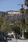 Hollywood Sign. HOLLYWOOD, CALIFORNIA - March 2: The famous Hollywood Sign atop the Los Angeles foothills on March 2 2012 in Los Angeles, California Stock Image