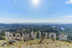 Hollywood sign from back. Los Angeles, NOV 11: Hollywood sign from back on NOV 11, 2017 at Los Angeles, California Royalty Free Stock Images