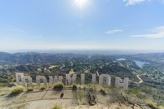 Hollywood sign from back. Los Angeles, NOV 11: Hollywood sign from back on NOV 11, 2017 at Los Angeles, California Stock Image