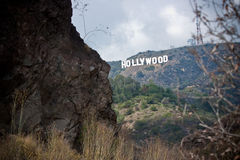 Hollywood Sign, California. The Hollywood Sign is a famous landmark in the Hollywood Hills area of Mount Lee, Santa Monica Mountains, in Los Angeles, California Stock Photos