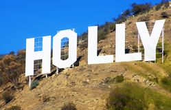 Hollywood Sign. HOLLYWOOD, CALIFORNIA, USA - FEBRUARY 5, 2014: Section of the Hollywood sign, built in 1923, located in Hollywood Hills at Mount Lee. A world Stock Images