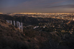 Hollywood Sign and Downtown Los Angeles Night View Royalty Free Stock Images