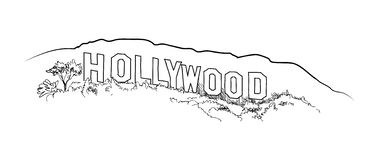 Hollywood Sign Engraving Hill Landscape View Hand Drawing