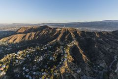 Hollywood Sign Griffith Park Morning Aerial View. Los Angeles, California, USA - February 20, 2018:  Morning aerial view of canyon homes and Hollywood Sign in Stock Photography