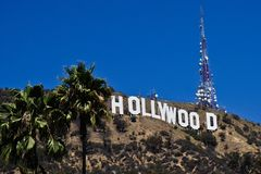 Hollywood sign on hollywood hill stock image