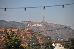 Hollywood Sign in the Hollywood Hills. View from the Sunset Strip, Los Angeles, California Royalty Free Stock Photos