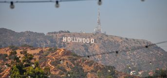 Hollywood Sign in the Hollywood Hills. View from the Sunset Strip, Los Angeles, California Stock Photo