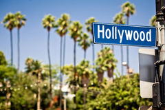 Hollywood sign in LA. Hollywood boulevard sign, with palm trees in the background Stock Photo