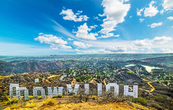 Hollywood sign with Los Angeles on the background Royalty Free Stock Photos