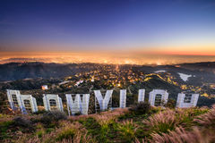 Hollywood Sign Los Angeles. LOS ANGELES, CALIFORNIA - FEBRUARY 29, 2016: The Hollywood sign overlooking Los Angeles. The iconic sign was originally created in