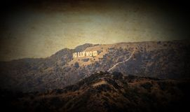Hollywood sign in Los Angeles California USA in romantic old photographic style on ancient canvas with copy space. Hollywood, California, USA – July 3 stock photos