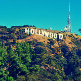 Hollywood sign in Mount Lee, Los Angeles, United States. LOS ANGELES - OCTOBER 17: Hollywood sign on October 17, 2011 in Los Angeles. The sign, located in Mount Stock Photo