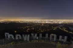 Hollywood Sign Night Editorial royalty free stock photography