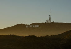 The Hollywood sign overlooking Los Angeles. LOS ANGELES, CALIFORNIA The Hollywood sign overlooking Los Angeles. The iconic sign was originally created in 1923 Royalty Free Stock Photography
