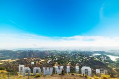 Hollywood sign seen from behind with Los Angeles on the backgro Royalty Free Stock Image
