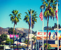 Hollywood sign seen from Hollywood boulevard Royalty Free Stock Photo