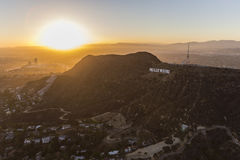 Hollywood Sign Sunset Aerial Stock Photos
