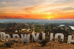 Hollywood sign at sunset Stock Photos