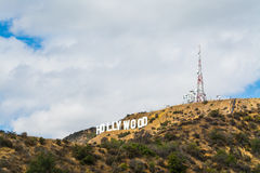 Hollywood sign under a blue sky with clouds Stock Photos