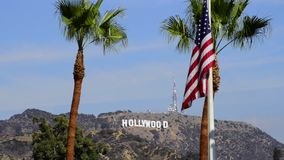 Hollywood Sign and USA flag stock video