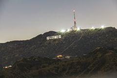 Hollywood sign view at night, Los Angeles Royalty Free Stock Photography