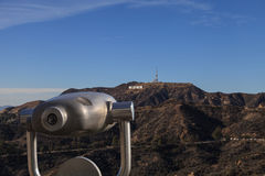 Hollywood sign from a viewer, located in Mount Lee Royalty Free Stock Photos