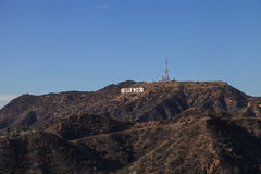Hollywood sign from a viewer, located in Mount Lee Stock Photos