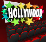 Hollywood Silver Screen Movie Theater Show Business Industry. Hollywood word on a movie screen to illustrate show business industry producing movies, films stock illustration