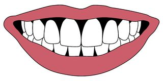 Hollywood smile white teeth. Hollywood smile with white teeth red lips, pursed in occlusion front teeth, vector Stock Photography
