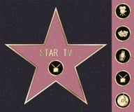 Hollywood spacer s?awy gwiazda na osobisto?? bulwarze Wektorowa symbol gwiazda dla ikonowego filmu aktora lub s?awnego aktorka sz ilustracji