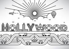 Hollywood-Stadt-Typografie-Entwurf mit errichtenden Buchstaben lizenzfreie abbildung