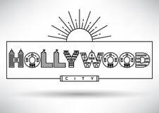 Hollywood-Stadt-Typografie-Entwurf mit errichtenden Buchstaben stock abbildung