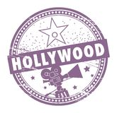 Hollywood stamp. Grunge rubber stamp with the name of Hollywood written inside the stamp Stock Images