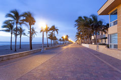 Hollywood strand Broadwalk, Florida arkivbilder