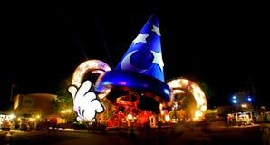 Hollywood Studios Sorcerer's Hat. Walt Disney World, Orlando, Florida, January 5th 2007: the Sorcerer's Hat lit up at night at Hollywood Studios Stock Images