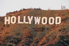Hollywood tecken; Berömd gränsmärke för värld Arkivbild