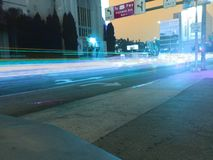 Hollywood 101. Traffic blur light trails movie B Stock Images