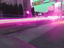 Hollywood 101. Traffic blur light trails movie B Royalty Free Stock Photography