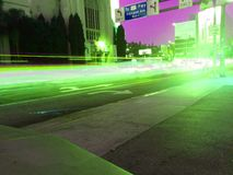 Hollywood 101. Traffic blur light trails movie B Stock Photography