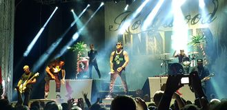 Hollywood Undead bor i konserten, Roman Arenas, Bucharest, Rumänien Arkivfoton