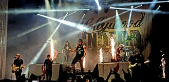 Hollywood Undead in concert, Roman Arenas, Bucharest, Romania. Hollywood Undead band performing in concert at Roman Arenas in Bucharest, Romania in 2018 Royalty Free Stock Photography