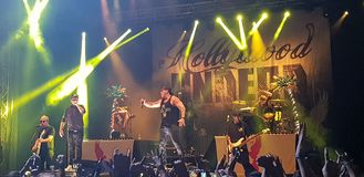 Hollywood Undead som utför i konsert, Roman Arenas, Bucharest, Rumänien Royaltyfria Foton