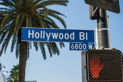 Hollywood undertecknar in Los Angeles, Kalifornien royaltyfri bild