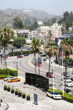 Hollywood urban scene. Against the famous Hollywood, sign, Los Angeles, California stock photos