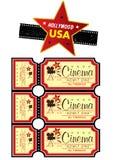 Hollywood USA icon. Film strip and cinema ticket set Royalty Free Stock Image