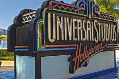 Hollywood- USA, October, 3: Universal Studios Sign seen at Unive Royalty Free Stock Photos