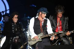Hollywood Vampires - Johnny Depp and Joe Perry. Rio de Janeiro, September 24, 2015. Guitarists Johnny Depp and Joe Perry during their concert of the band royalty free stock photography